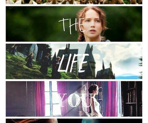 harry potter, the hunger games, and katniss image