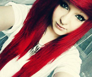 scene, hair, and red image