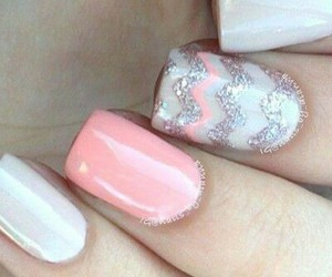 manicure, pink, and silver image