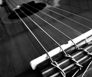 close-up, black and white, and guitar image