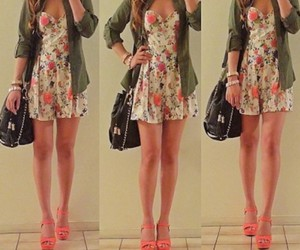 beautiful, floral, and girl image