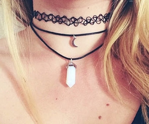 choker, necklace, and moon image
