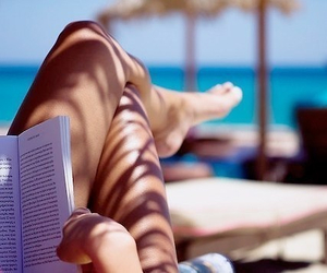 summer, book, and beach image