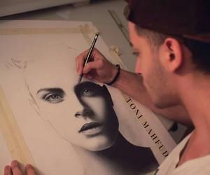 drawing, cara delevigne, and toni mahfud image