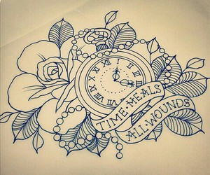 clock, tattoo, and time image