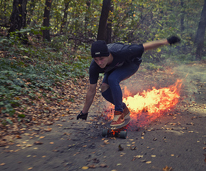 fire, guy, and skater image