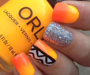 nails, orange, and glitter image