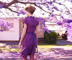 purple, dress, and flowers image