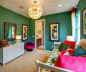 bedroom, room, and teal image