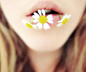flowers, girl, and lips image