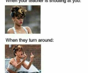 funny, turn around, and me in school image