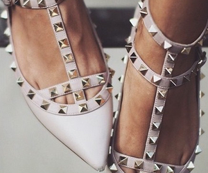 beige, Valentino, and silver studs image