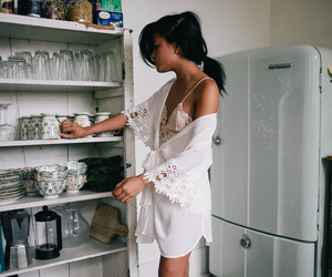 girl, white, and kitchen image