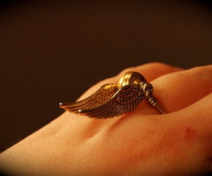 golden snitch, ring, and harry potter image