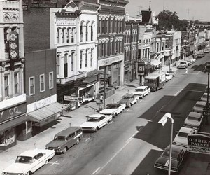 1950s, black and white, and small town image