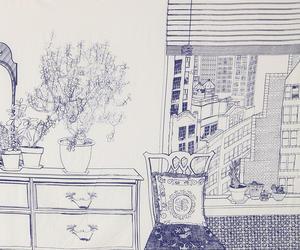 art, interior, and drawing image