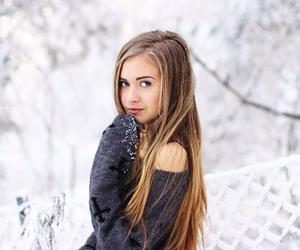 beautiful, girl, and snow image
