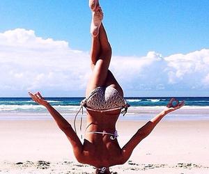 yoga, beach, and summer image