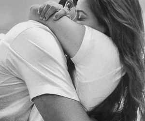 black & white, couple, and hugs image