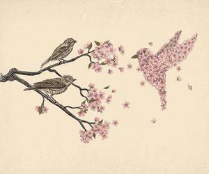 bird, flowers, and art image