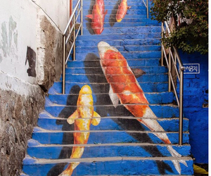 art, staircase, and stairway image