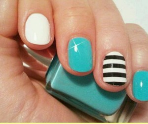 nail art, stripe, and turquoise image