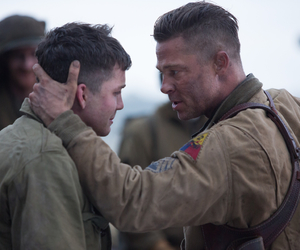 logan lerman, brad pitt, and fury image
