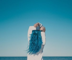 blue, sea, and hair image
