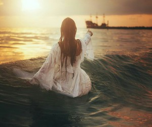 girl, ship, and ocean image