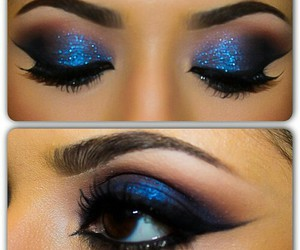 blue, make up, and makeup image