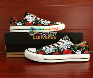 shoes black, skulls and roses, and all star shoes image