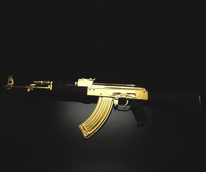 gun, gold, and ak47 image