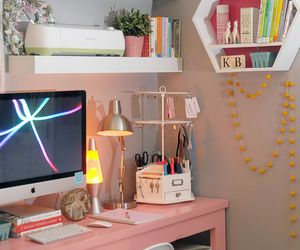 chair, computer, and girly image