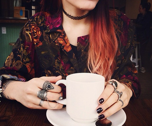 coffee, nails, and grunge image