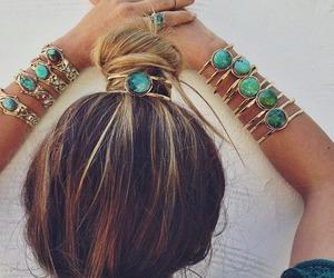 hair, boho, and bracelet image