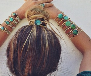 hair, boho, and bracelet image