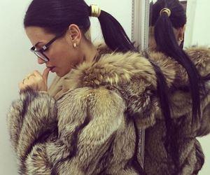 fashion, fur, and brunette image