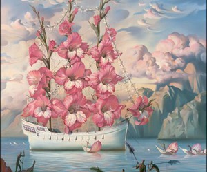 flowers, art, and boat image