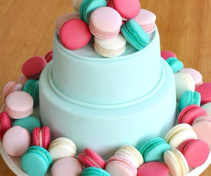 cake, food, and macarons image
