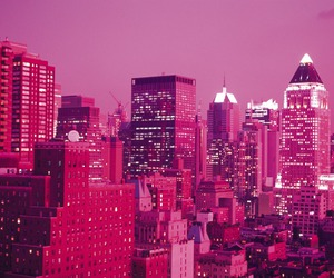 pink, city, and wallpaper image