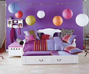 bedroom, bed, and purple image