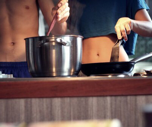 love, couple, and cooking image