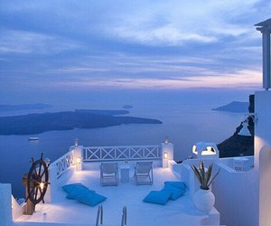 nature, santorini, and pool image