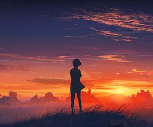 sunset, anime, and sky image