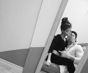 black and white, couple, and mirror image