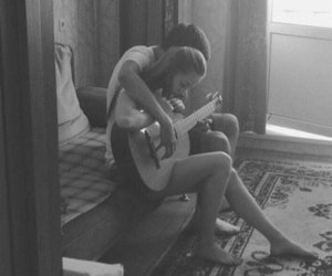 black&white, couple, and guitar image