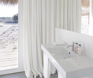 white, bathroom, and beach image
