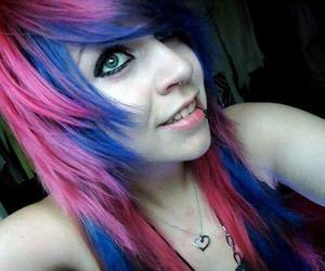 pink hair, blue hair, and dyed hair image