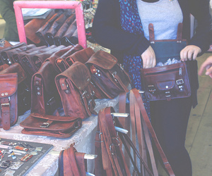 bags, leather, and brown image
