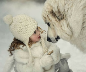 dog, snow, and child image